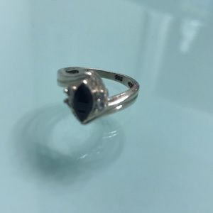 .925 Silver Sapphire marquis ring with 4cz size 6